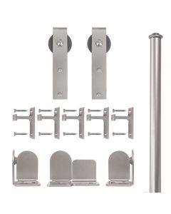 QG Rolling Door Hook Hardware Short Bracket Kit Satin Nickel