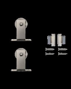 Rolling Door Furniture Hardware Top Mount Style w/o Rail, Satin Nickel