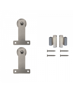 Rolling Door Furniture Hardware Front Mount Style w/o Rail, Satin Nickel