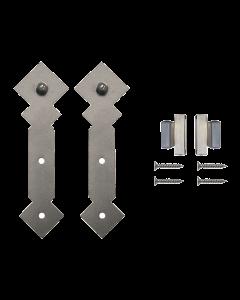 Rolling Door Furniture Hardware Double Diamond Style w/o Rail, Satin Nickel