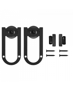 QG Miniature Rolling Door Hardware Kit, Horse Shoe Style w/o Rail, Black