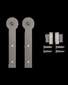 Rolling Door Furniture Hardware Round Stick Style w/o Rail, Satin Nickel