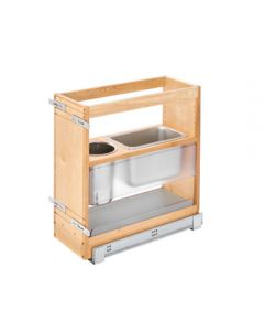 """8"""" Grooming Organizer Natural Maple w/Stainless Bins for 12"""" Vanity"""