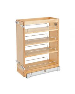 "Rev-A-Shelf 8\"" Pull Out Base Organizer (19\""Depth) Natural Maple w/Adjustable Shelves"