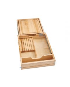 """Combination Knife Holder/Cutting Board Drawer w/ BLUMOTION Soft-Close for Full  Access 18"""""""