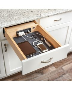 "Charging Drawer for 18"" Face Frame or Frameless Cabinet, Maple 1"