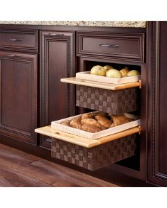 "Woven Organizer Pullout Basket with Maple Rails, For 15"" or 18"" Base Cabinets 1"