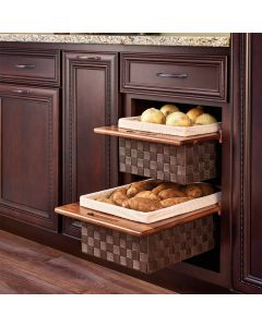 "Woven Organizer Pullout Basket with Walnut Rails, For 15"" or 18"" Base Cabinets"