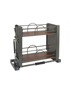 """Solid Bottom Pulldown Shelving System for Wall 24"""" Orion Gray"""