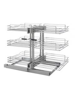 3 Tier Blind Corner Optimizer, Soft Close - Unhanded -Chrome Wire