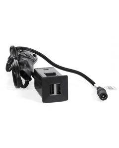 USB Charger, Dual, Square, Black