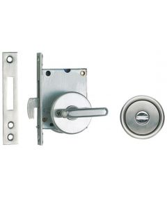Non-Handed Sliding Door Latch With Long Lever, Satin