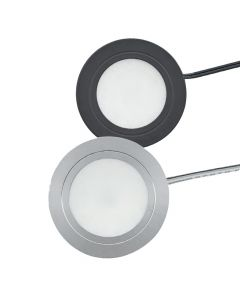 EquiLine Puck Light, 3W Recess Puck Light, 3000K Warm White (Nickel or Black Finish)